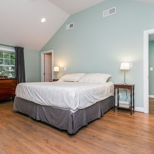 Bedroom - large traditional master dark wood floor bedroom idea in Baltimore with green walls and no fireplace