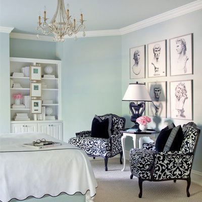 Bedroom - large transitional guest carpeted bedroom idea in Little Rock with blue walls and no fireplace