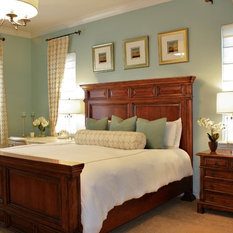 Interiors   Transitional Bedroom With Geometric Embroidered Drapes And  Panel Bed. Sherwin Williams Tidewater Wall Color.