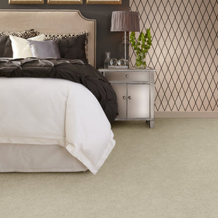Design ideas for a large victorian master bedroom in Denver with pink walls, carpet and no fireplace.