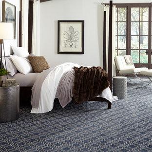 ニューヨークの大きいコンテンポラリースタイルのおしゃれな主寝室 (白い壁、カーペット敷き、暖炉なし、青い床) のレイアウト