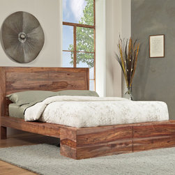 Domusindo - Sheesham Solid Wood Full-size Panel Bed - Sleep in comfort and style in this elegant wood panel bed. It features 24 wooden slats, which provide plenty of support, so you can use the frame with or without a box-spring, and it is has one solid center support for added durability.
