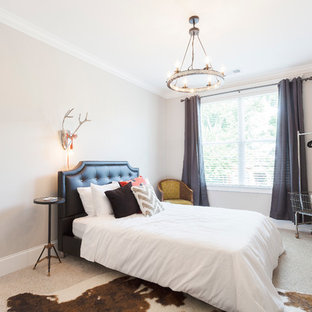 Bedroom - mid-sized transitional guest carpeted bedroom idea in Nashville with beige walls