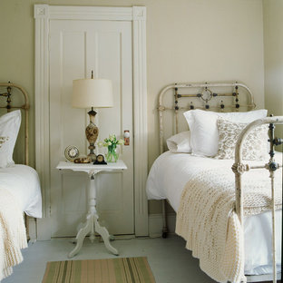 Inspiration for a shabby-chic style bedroom remodel in New York with beige walls