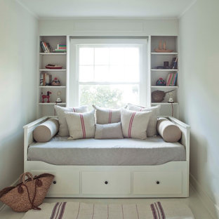 Inspiration for a timeless bedroom remodel in New York with white walls