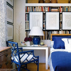 Eclectic Bedroom shelves, small space