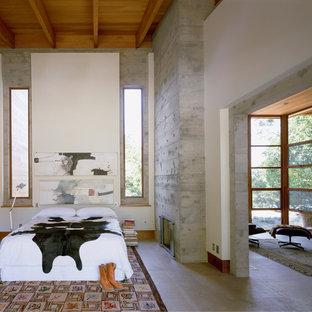 Diseño de dormitorio principal, actual, grande, con paredes blancas, suelo de cemento, chimenea tradicional, marco de chimenea de hormigón y suelo gris