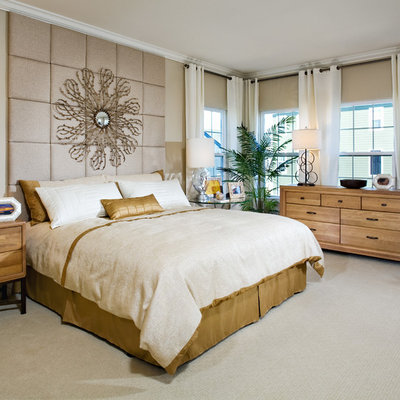 Example of a trendy carpeted bedroom design in Baltimore with beige walls