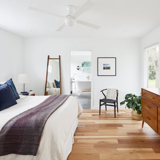 Example Of A Large Trendy Master Light Wood Floor And Brown Bedroom Design In Austin