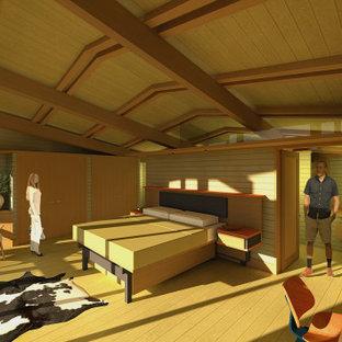 Diseño de dormitorio principal y madera, actual, de tamaño medio, madera, sin chimenea, con paredes multicolor, suelo de cemento, suelo rojo y madera