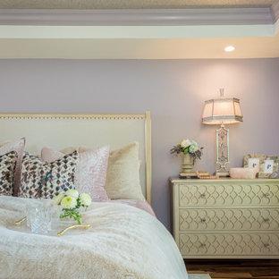 ミルウォーキーの中くらいのトランジショナルスタイルのおしゃれな寝室 (紫の壁、無垢フローリング、標準型暖炉、積石の暖炉まわり、マルチカラーの床、折り上げ天井) のインテリア