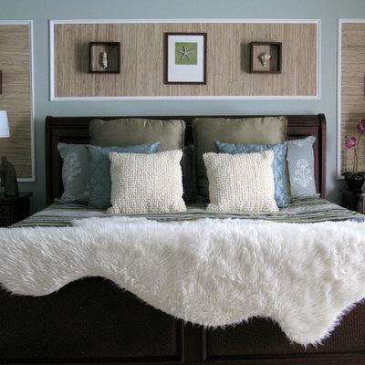 Bedroom - tropical bedroom idea in Philadelphia with gray walls