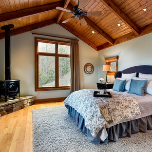 This is an example of a large country master bedroom in Chicago with beige walls, light hardwood floors, a wood stove and brown floor.