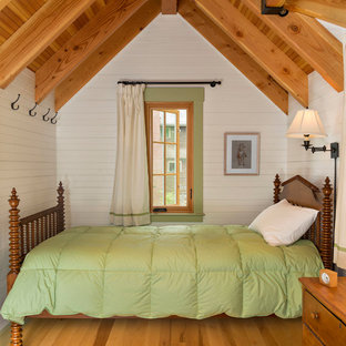 Design ideas for a small rustic guest bedroom in Boston with white walls and medium hardwood flooring.