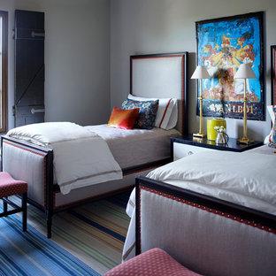 Ispirazione per una camera degli ospiti stile americano con pareti beige