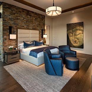 フェニックスの広いコンテンポラリースタイルのおしゃれな主寝室 (マルチカラーの壁、濃色無垢フローリング、標準型暖炉、金属の暖炉まわり、茶色い床) のレイアウト