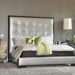 Inspiration for a contemporary master bedroom remodel in Atlanta with gray walls and no fireplace