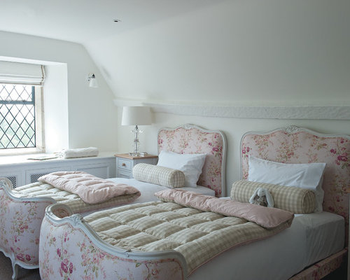 Mid Sized Elegant Guest Carpeted Bedroom Photo In Gloucestershire With  White Walls