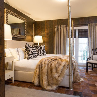 Design ideas for a mid-sized contemporary master bedroom in Boston with brown walls, ceramic floors, no fireplace and brown floor.