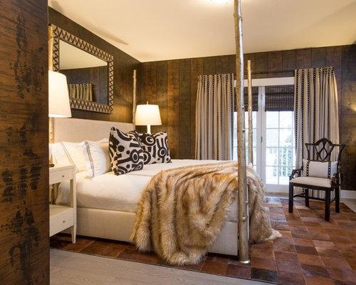 Camera da letto con pavimento con piastrelle in ceramica boston