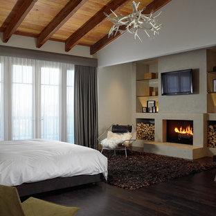 Design ideas for a mid-sized country guest bedroom in Other with white walls, dark hardwood floors, a standard fireplace, a plaster fireplace surround and brown floor.