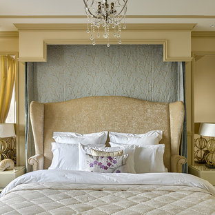 Classic master bedroom in London with beige walls.