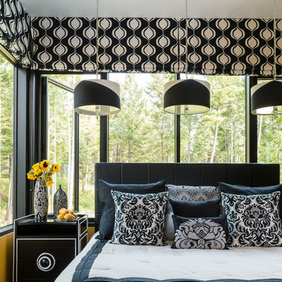 Bedroom - contemporary guest carpeted bedroom idea in Other