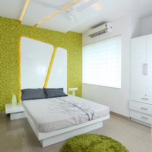 Example of a trendy bedroom design in Other with green walls