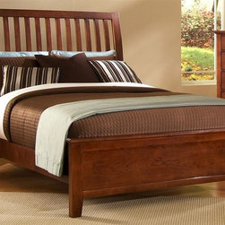 Vaughan Bassett - Slat Panel Bed in Cherry Finish (Queen) - Choose Bed Size: QueenFull Size:. Includes slat headboard, platform footboard, wood rails and 3 1-inch slats. Slat headboard: 56 in. L x 4 in. W x 52 in. H. Platform footboard: 57 in. L x 2.5 in. W x 21 in. H. Wood rails: 76 in. L x 6 in. W x 1 in. H. Queen Size:. Includes slat headboard, platform footboard, wood rails and slats. Slat headboard: 63 in. L x 6 in. W x 58 in. H. Platform footboard: 64 in. L x 2.5 in. W x 21 in. H. Wood rails: 82 in. L x 6 in. W x 1 in. H. King Size:. Includes slat headboard, platform footboard, wood rails and metal support slats. Slat headboard: 80 in. L x 6 in. W x 58 in. H. Platform footboard: 81 in. L x 2.5 in. W x 21 in. H. Wood rails: 82 in. L x 6 in. W x 1 in. H. Under bed storage box: 52 in. L x 19 in. W x 7.5 in. H (optional). Cherry finish. Assembly required