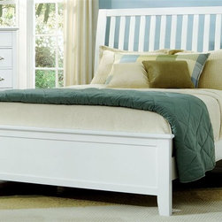 Vaughan Bassett - Slat Panel Bed in Snow White Finish (Queen) - Choose Bed Size: QueenFull Size:. Includes slat headboard, platform footboard, wood rails and 3 1-inch slats. Slat headboard: 56 in. L x 4 in. W x 52 in. H. Platform footboard: 57 in. L x 2.5 in. W x 21 in. H. Wood rails: 76 in. L x 6 in. W x 1 in. H. Queen Size:. Includes slat headboard, platform footboard, wood rails and slats. Slat headboard: 63 in. L x 6 in. W x 58 in. H. Platform footboard: 64 in. L x 2.5 in. W x 21 in. H. Wood rails: 82 in. L x 6 in. W x 1 in. H. King Size:. Includes slat headboard, platform footboard, wood rails and metal support slats. Slat headboard: 80 in. L x 6 in. W x 58 in. H. Platform footboard: 81 in. L x 2.5 in. W x 21 in. H. Wood rails: 82 in. L x 6 in. W x 1 in. H. Under bed storage box: 52 in. L x 19 in. W x 7.5 in. H (optional). Snow White finish. Assembly required