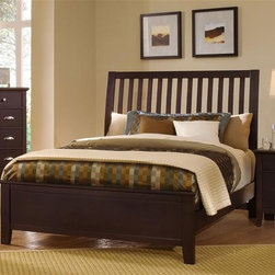 Vaughan Bassett - Slat Panel Bed w Nightstand & Chest in Merlot - Choose Bed Size: QueenIncludes slat panel bed, nightstand and chest. Merlot finish. Assembly required. Nightstand:. 2 Drawers. 26 in. W x 16 in. D x 29 in. H. Chest:. 5 Drawers. 38 in. W x 18 in. D x 51 in. H. Slat panel bed:. Full Size:. Includes slat headboard, platform footboard, wood rails and 3 1-inch slats. Slat headboard: 56 in. L x 4 in. W x 52 in. H. Platform footboard: 57 in. L x 2.5 in. W x 21 in. H. Wood rails: 76 in. L x 6 in. W x 1 in. H. Queen Size:. Includes slat headboard, platform footboard, wood rails and slats. Slat headboard: 63 in. L x 6 in. W x 58 in. H. Platform footboard: 64 in. L x 2.5 in. W x 21 in. H. Wood rails: 82 in. L x 6 in. W x 1 in. H. King Size:. Includes slat headboard, platform footboard, wood rails and metal support slats. Slat headboard: 80 in. L x 6 in. W x 58 in. H. Platform footboard: 81 in. L x 2.5 in. W x 21 in. H. Wood rails: 82 in. L x 6 in. W x 1 in. H. Under bed storage box: 52 in. L x 19 in. W x 7.5 in. H (optional)