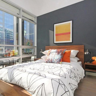 Small trendy master laminate floor and beige floor bedroom photo in Ottawa with gray walls and no fireplace
