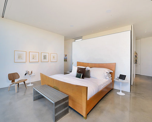bedroom architecture design. Inspiration for a modern master concrete floor and gray bedroom  remodel with white walls Best 70 Modern Bedroom Ideas Houzz