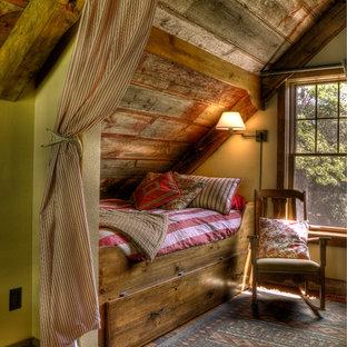Bedroom - rustic medium tone wood floor bedroom idea in Minneapolis with beige walls