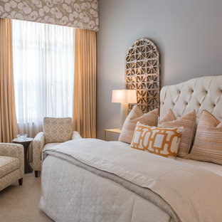 This Is An Example Of A Traditional Master Bedroom In Miami With Grey Walls And Carpet