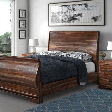 Sleigh Back Solid Wood 3pc Platform Bed Frame w 2 Nightstands