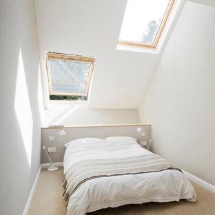 Esempio di una piccola camera da letto minimal con pareti bianche e moquette