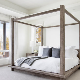 This is an example of a country bedroom in Other with white walls, carpet, grey floor and recessed.