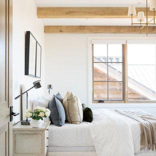 Ejemplo de habitación de invitados tradicional renovada, pequeña, con paredes blancas, moqueta y suelo multicolor