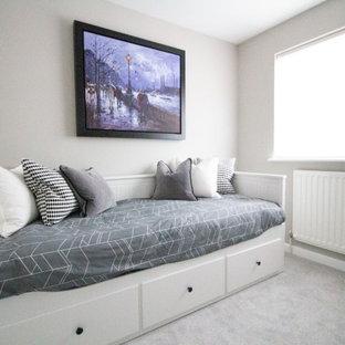 バークシャーの小さいモダンスタイルのおしゃれな客用寝室 (グレーの壁、カーペット敷き、暖炉なし、グレーの床) のインテリア