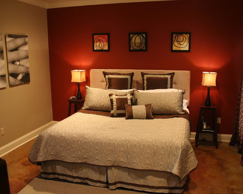 Live oak residence - Bedroom with red accent wall ...