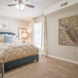 Mid-sized transitional master carpeted and beige floor bedroom photo in Charlotte with beige walls and no fireplace