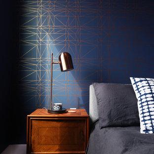 Sneak Peek: Navy and Copper Wall Paper Master Bedroom