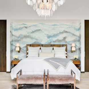 Inspiration for a mid-sized transitional master light wood floor and beige floor bedroom remodel in Denver with white walls and no fireplace