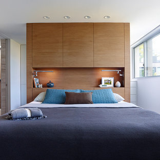 Example of a trendy master bedroom design in Philadelphia with white walls