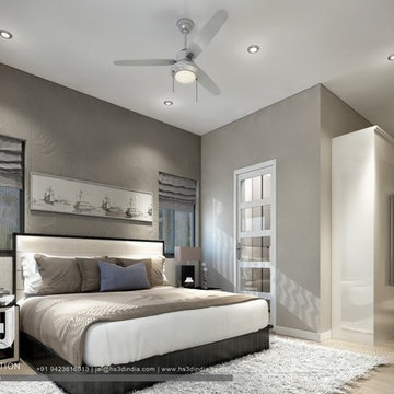 Soft Gray Paint Colors And Living Room Furnishings, White Carpet, 3d Rendering
