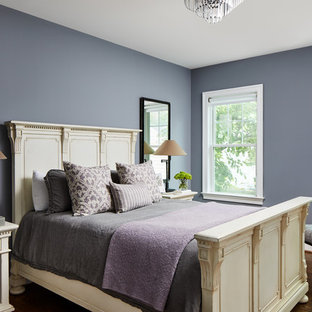 This is an example of a mid-sized transitional guest bedroom in DC Metro with blue walls, no fireplace, brown floor and dark hardwood floors.