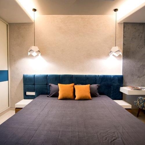 Camera da letto con pavimento con piastrelle in ceramica ...