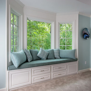 Inspiration for a large timeless master carpeted bedroom remodel in Atlanta with blue walls and no fireplace