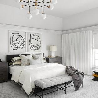 シカゴの巨大なコンテンポラリースタイルのおしゃれな主寝室 (白い壁、カーペット敷き、グレーの床) のレイアウト